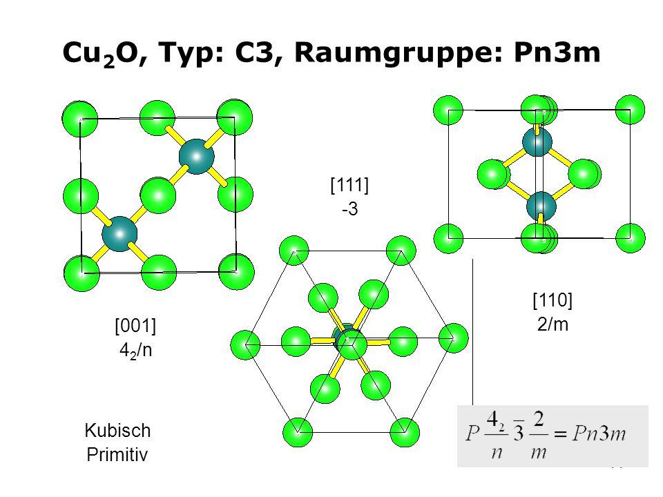 14 Cu 2 O, Typ: C3, Raumgruppe: Pn3m [001] 4 2 /n [111] -3 Kubisch Primitiv [110] 2/m