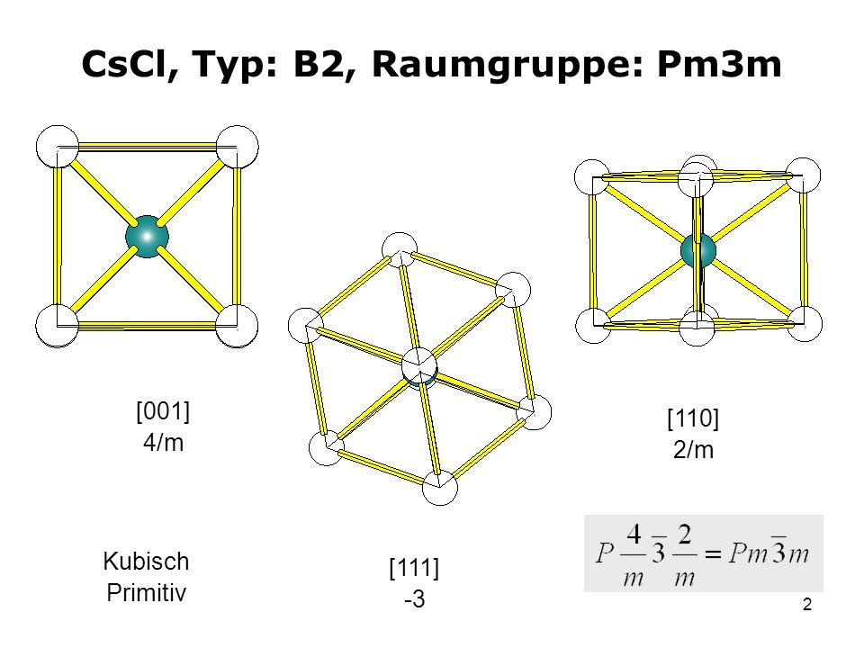 2 CsCl, Typ: B2, Raumgruppe: Pm3m [001] 4/m [111] -3 [110] 2/m Kubisch Primitiv