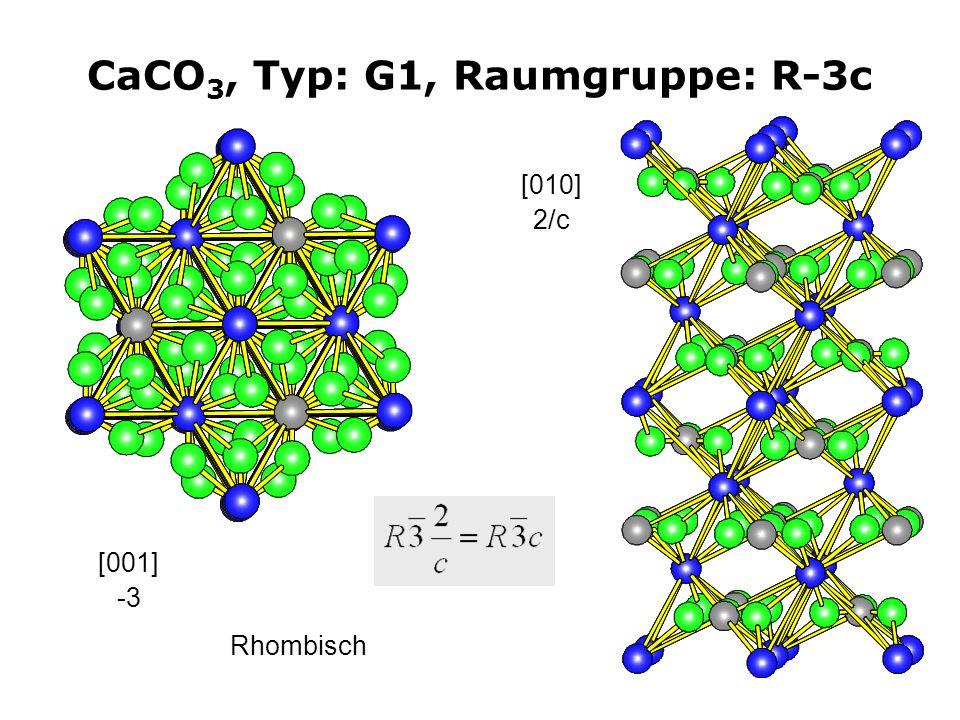 20 CaCO 3, Typ: G1, Raumgruppe: R-3c [001] -3 [010] 2/c Rhombisch