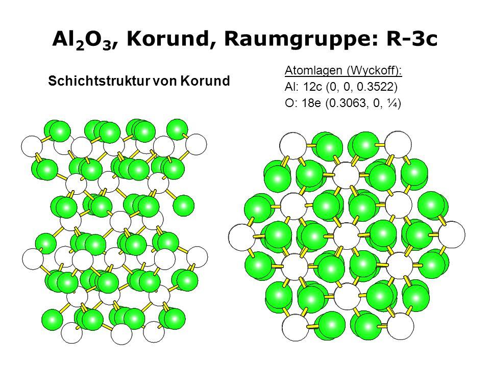 21 Al 2 O 3, Korund, Raumgruppe: R-3c Atomlagen (Wyckoff): Al: 12c (0, 0, 0.3522) O: 18e (0.3063, 0, ¼) Schichtstruktur von Korund