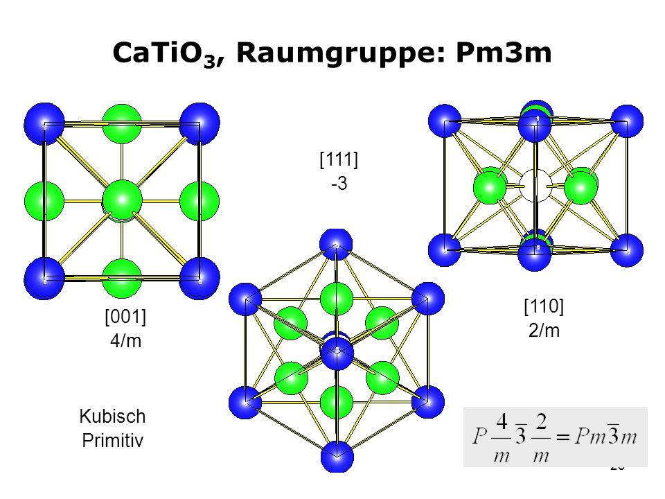 23 CaTiO 3, Raumgruppe: Pm3m [001] 4/m [111] -3 [110] 2/m Kubisch Primitiv