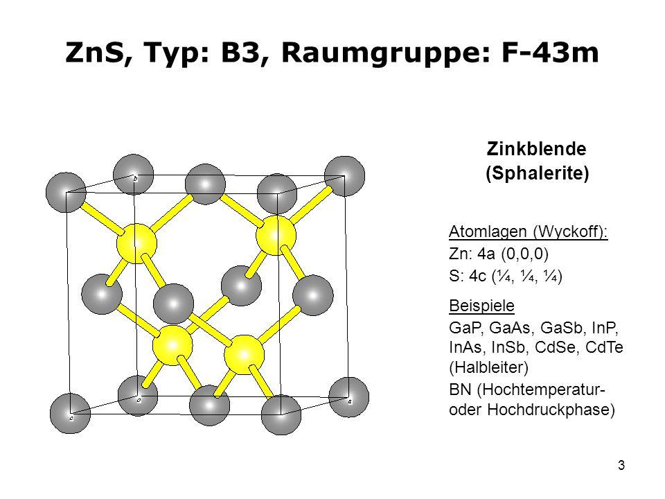 3 ZnS, Typ: B3, Raumgruppe: F-43m Atomlagen (Wyckoff): Zn: 4a (0,0,0) S: 4c (¼, ¼, ¼) Beispiele GaP, GaAs, GaSb, InP, InAs, InSb, CdSe, CdTe (Halbleit