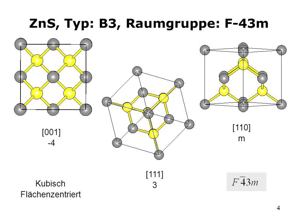 4 ZnS, Typ: B3, Raumgruppe: F-43m [001] -4 [111] 3 [110] m Kubisch Flächenzentriert