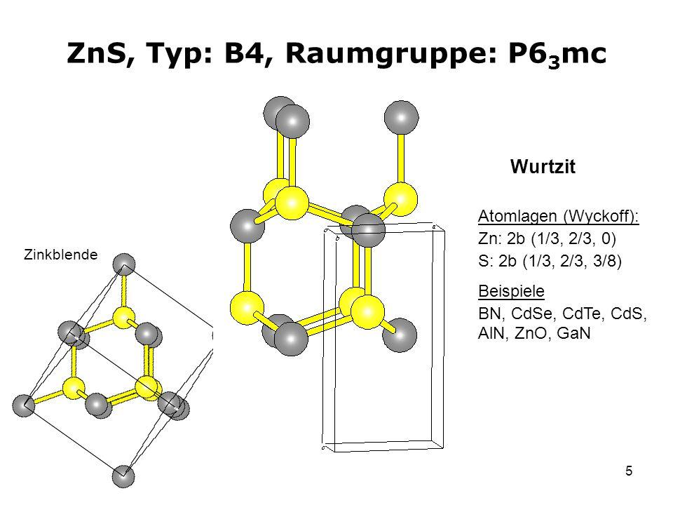 5 ZnS, Typ: B4, Raumgruppe: P6 3 mc Atomlagen (Wyckoff): Zn: 2b (1/3, 2/3, 0) S: 2b (1/3, 2/3, 3/8) Beispiele BN, CdSe, CdTe, CdS, AlN, ZnO, GaN Wurtz