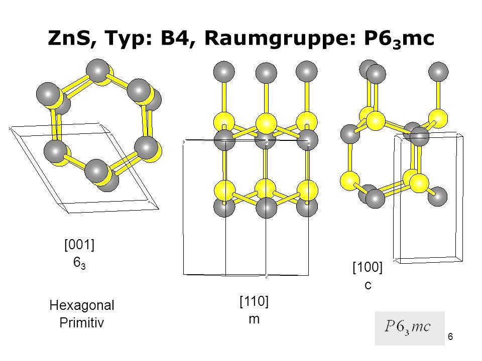 6 ZnS, Typ: B4, Raumgruppe: P6 3 mc [001] 6 3 [110] m [110] m Hexagonal Primitiv [100] c