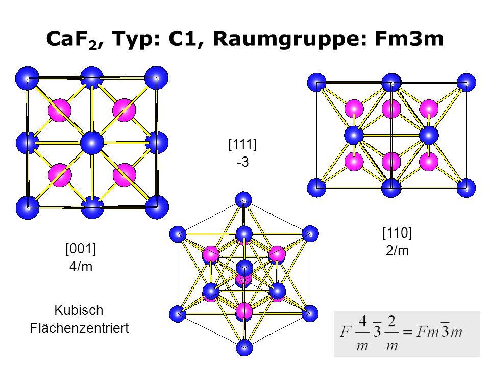 8 CaF 2, Typ: C1, Raumgruppe: Fm3m [001] 4/m [111] -3 Kubisch Flächenzentriert [110] 2/m