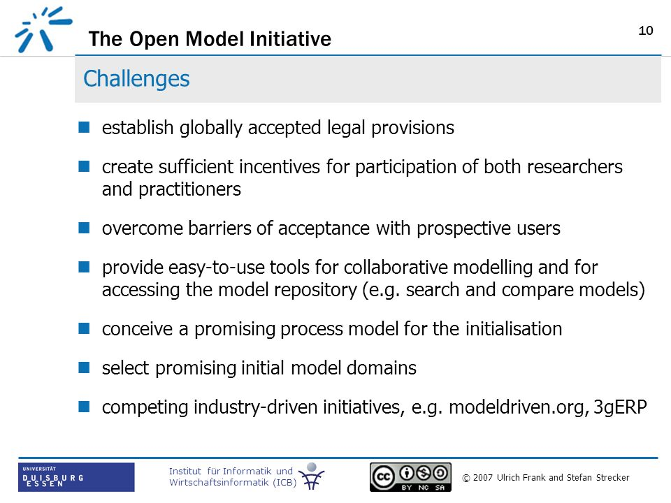 The Open Model Initiative Institut für Informatik und Wirtschaftsinformatik (ICB) © 2007 Ulrich Frank and Stefan Strecker 10 Challenges establish globally accepted legal provisions create sufficient incentives for participation of both researchers and practitioners overcome barriers of acceptance with prospective users provide easy-to-use tools for collaborative modelling and for accessing the model repository (e.g.