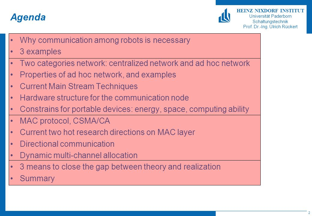 2 HEINZ NIXDORF INSTITUT Universität Paderborn Schaltungstechnik Prof. Dr.-Ing. Ulrich Rückert Agenda Why communication among robots is necessary 3 ex