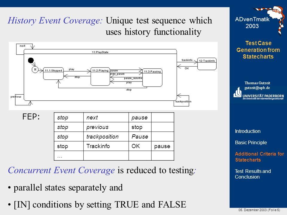 05. Dezember 2003 (Folie 5) Test Case Generation from Statecharts Thomas Gutzeit gutzeit@upb.de ADvenTmatik 2003 History Event Coverage: Unique test s