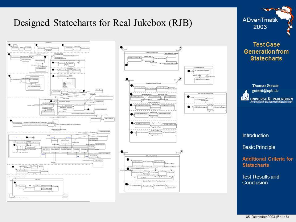 05. Dezember 2003 (Folie 6) Test Case Generation from Statecharts Thomas Gutzeit gutzeit@upb.de ADvenTmatik 2003 Designed Statecharts for Real Jukebox