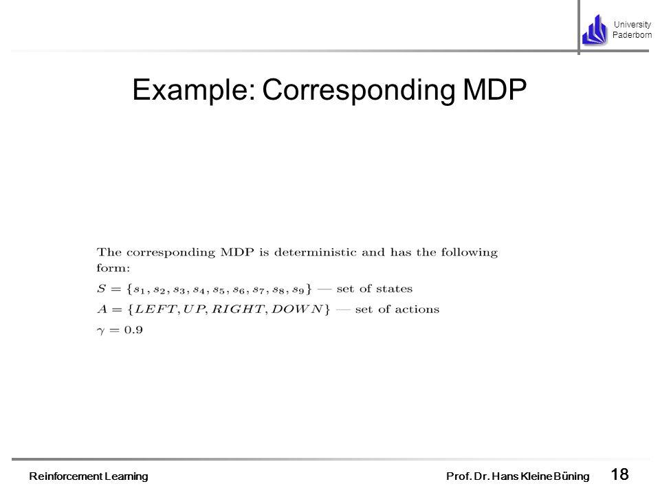 Reinforcement Learning Prof. Dr. Hans Kleine Büning 18 University Paderborn Example: Corresponding MDP