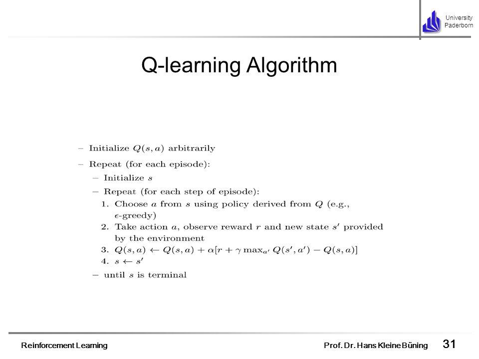 Reinforcement Learning Prof. Dr. Hans Kleine Büning 31 University Paderborn Q-learning Algorithm