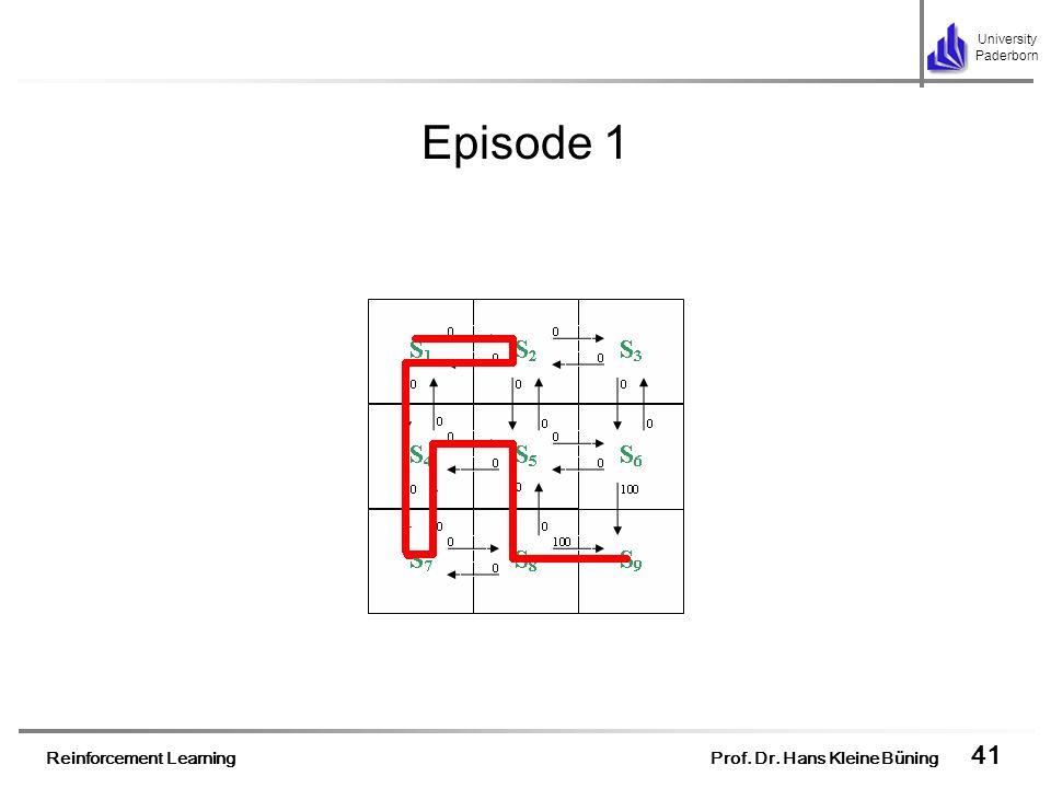 Reinforcement Learning Prof. Dr. Hans Kleine Büning 41 University Paderborn Episode 1