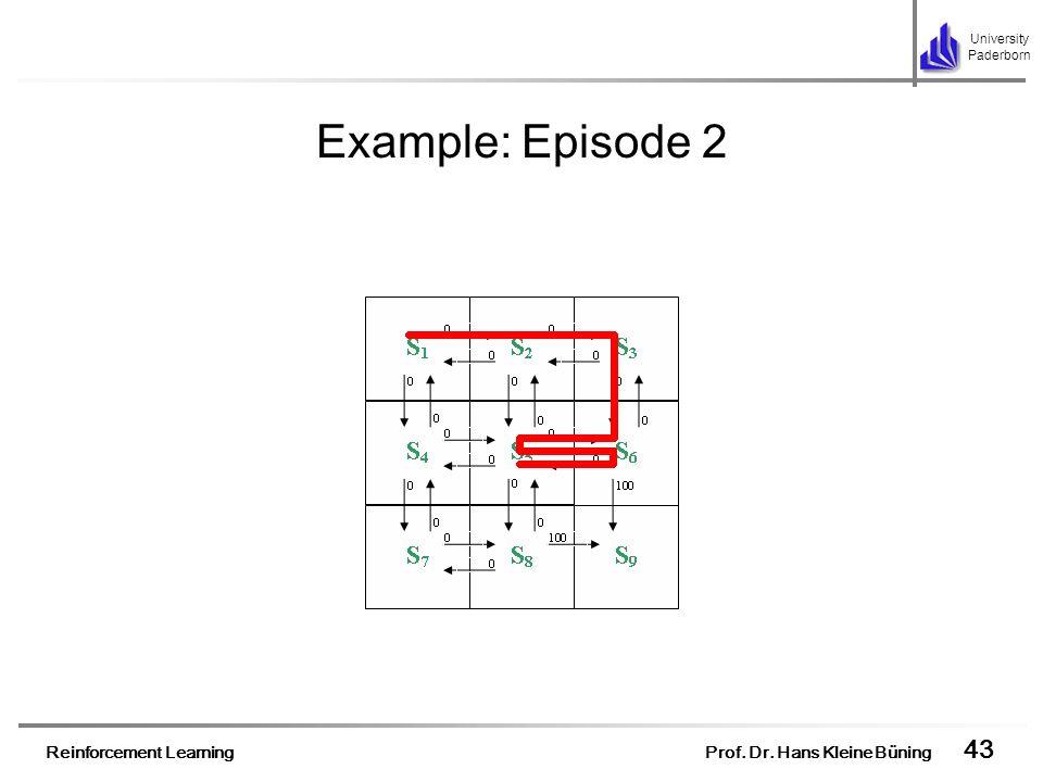 Reinforcement Learning Prof. Dr. Hans Kleine Büning 43 University Paderborn Example: Episode 2