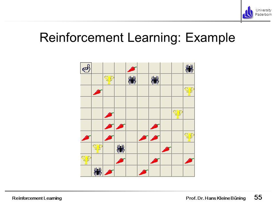 Reinforcement Learning Prof. Dr. Hans Kleine Büning 55 University Paderborn Reinforcement Learning: Example