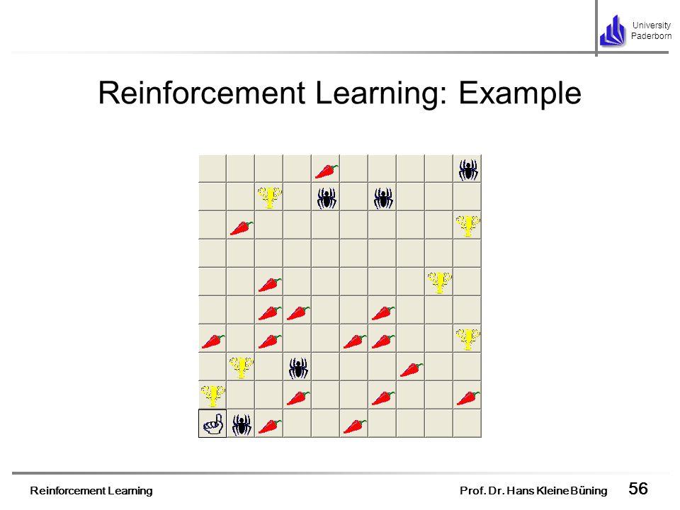 Reinforcement Learning Prof. Dr. Hans Kleine Büning 56 University Paderborn Reinforcement Learning: Example