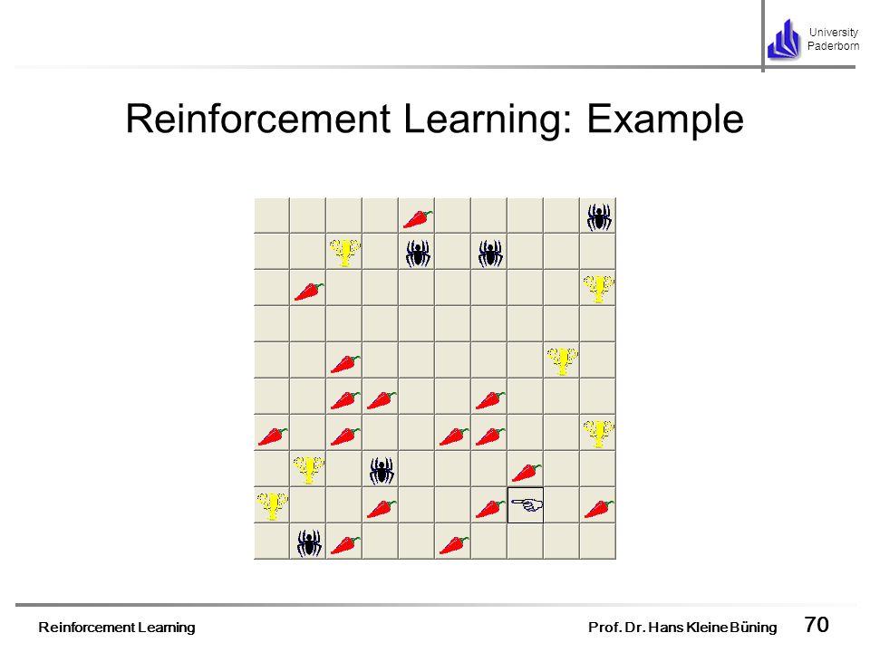 Reinforcement Learning Prof. Dr. Hans Kleine Büning 70 University Paderborn Reinforcement Learning: Example