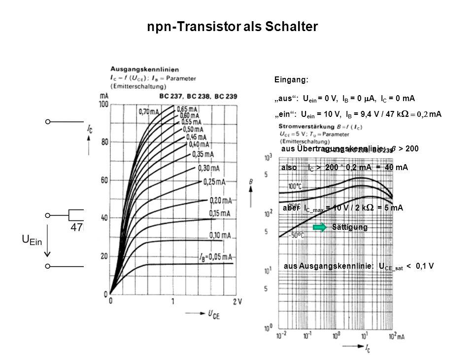 2 npn-Transistor als Schalter Eingang: aus: U ein = 0 V, I B = 0 mA, I C = 0 mA ein: U ein = 10 V, I B = 9,4 V / 47 k W = 0,2 mA aus Übertragungskennl