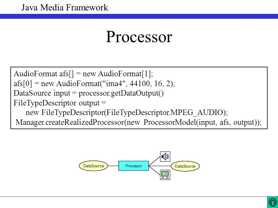 Java Media Framework Processor AudioFormat afs[] = new AudioFormat[1]; afs[0] = new AudioFormat( ima4 , 44100, 16, 2); DataSource input = processor.getDataOutput() FileTypeDescriptor output = new FileTypeDescriptor(FileTypeDescriptor.MPEG_AUDIO); Manager.createRealizedProcessor(new ProcessorModel(input, afs, output));
