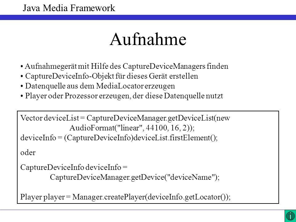Java Media Framework Aufnahme Aufnahmegerät mit Hilfe des CaptureDeviceManagers finden CaptureDeviceInfo-Objekt für dieses Gerät erstellen Datenquelle