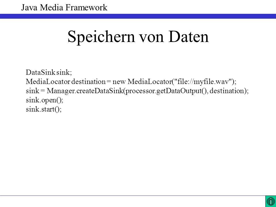 Java Media Framework Speichern von Daten DataSink sink; MediaLocator destination = new MediaLocator(