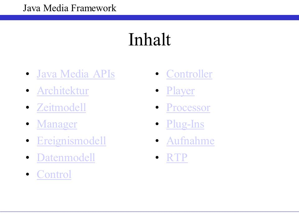 Inhalt Java Media APIs Architektur Zeitmodell Manager Ereignismodell Datenmodell Control Controller Player Processor Plug-Ins Aufnahme RTP