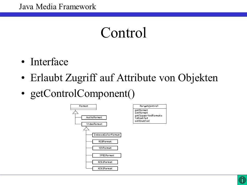 Java Media Framework Control Interface Erlaubt Zugriff auf Attribute von Objekten getControlComponent()