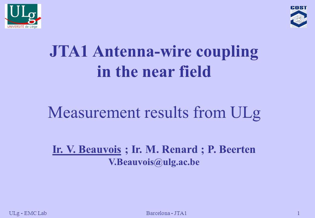 ULg - EMC Lab Barcelona - JTA11 JTA1 Antenna-wire coupling in the near field Measurement results from ULg Ir. V. Beauvois ; Ir. M. Renard ; P. Beerten