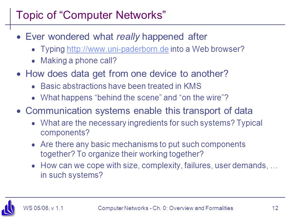 WS 05/06, v 1.1Computer Networks - Ch.