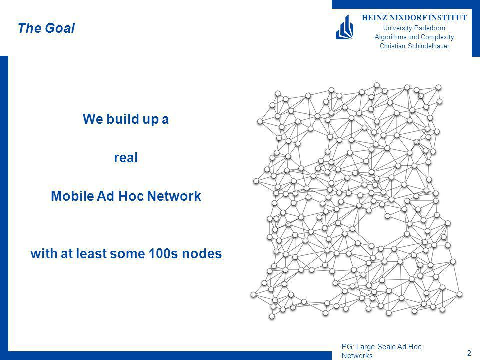 PG: Large Scale Ad Hoc Networks 2 HEINZ NIXDORF INSTITUT University Paderborn Algorithms und Complexity Christian Schindelhauer The Goal We build up a