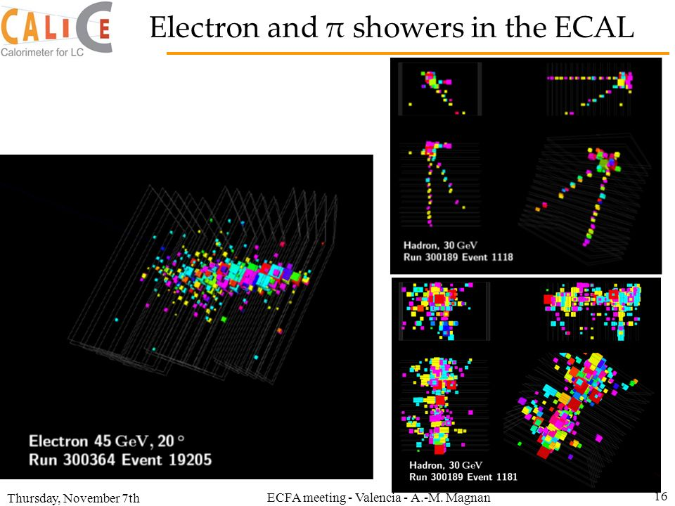 Thursday, November 7th ECFA meeting - Valencia - A.-M. Magnan 16 Electron and π showers in the ECAL