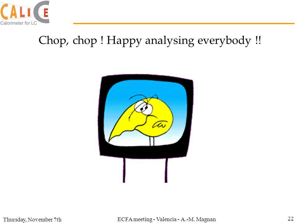 Thursday, November 7th ECFA meeting - Valencia - A.-M. Magnan 22 Chop, chop ! Happy analysing everybody !!