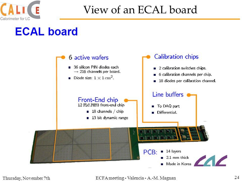 Thursday, November 7th ECFA meeting - Valencia - A.-M. Magnan 24 View of an ECAL board