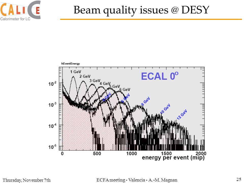 Thursday, November 7th ECFA meeting - Valencia - A.-M. Magnan 25 Beam quality issues @ DESY