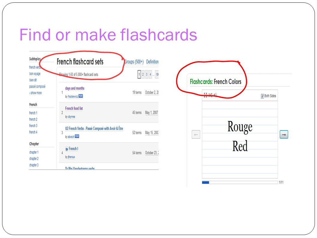 Find or make flashcards