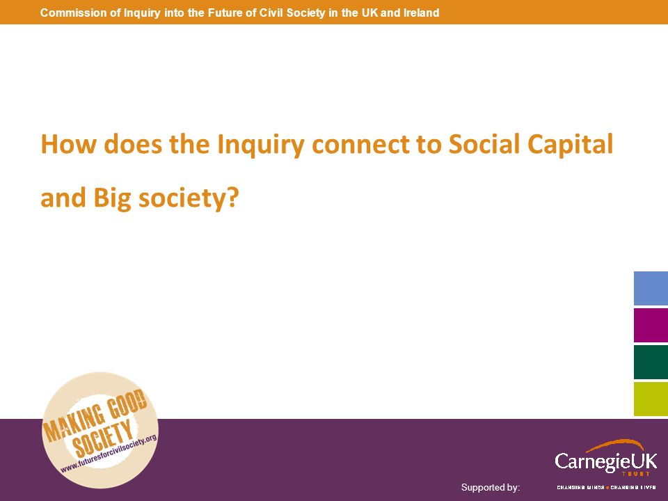 Supported by: Commission of Inquiry into the Future of Civil Society in the UK and Ireland How does the Inquiry connect to Social Capital and Big soci