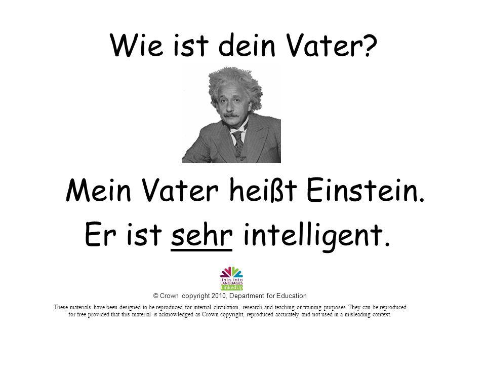 Wie ist dein Vater. Er ist sehr intelligent. Mein Vater heißt Einstein.