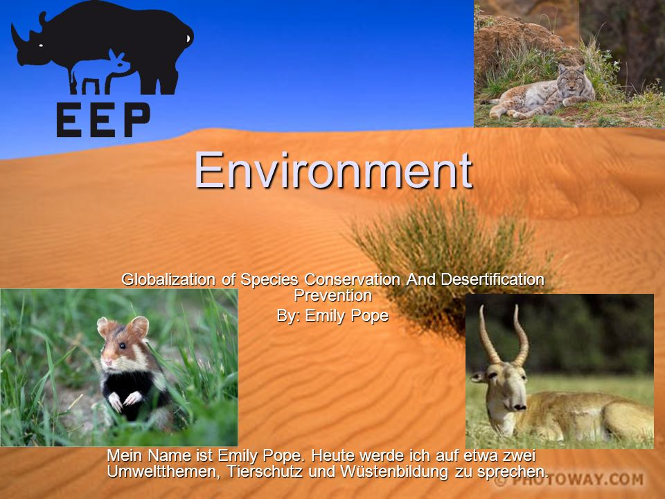 Environment Globalization of Species Conservation And Desertification Prevention By: Emily Pope Mein Name ist Emily Pope. Heute werde ich auf etwa zwe