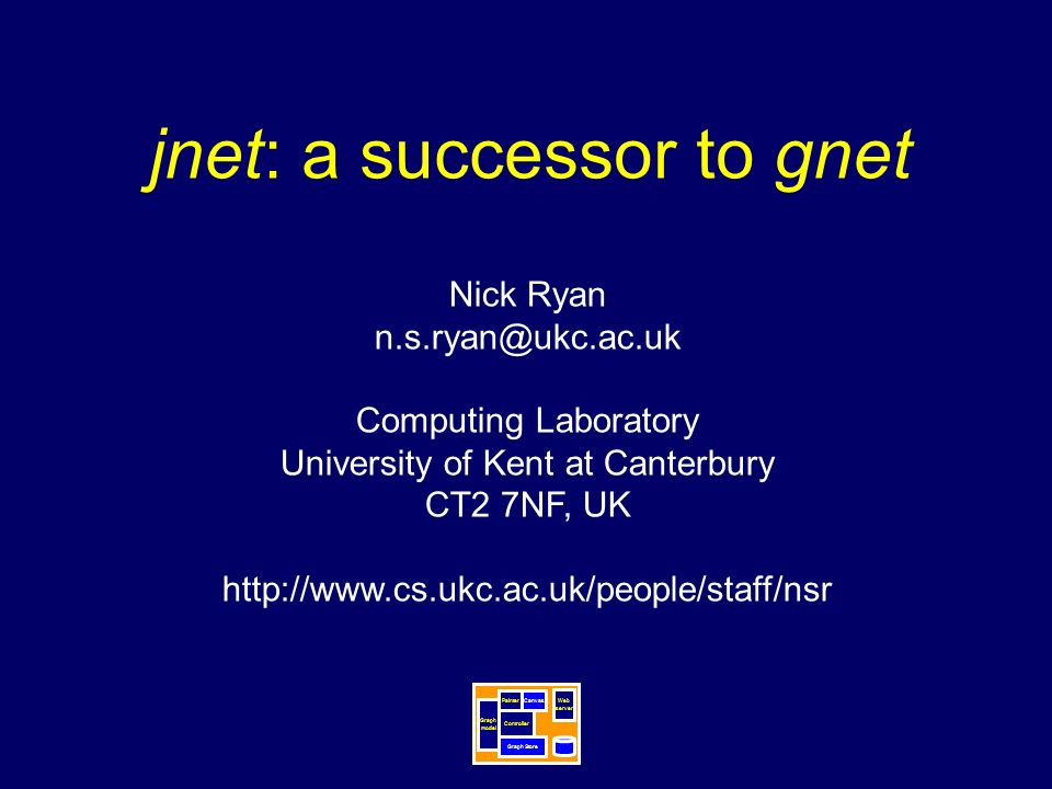 jnet: a successor to gnet Nick Ryan Computing Laboratory University of Kent at Canterbury CT2 7NF, UK   Graph Store Painter Graph model Controller Canvas Web server