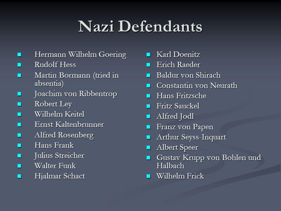 Nazi Defendants Hermann Wilhelm Goering Hermann Wilhelm Goering Rudolf Hess Rudolf Hess Martin Bormann (tried in absentia) Martin Bormann (tried in ab