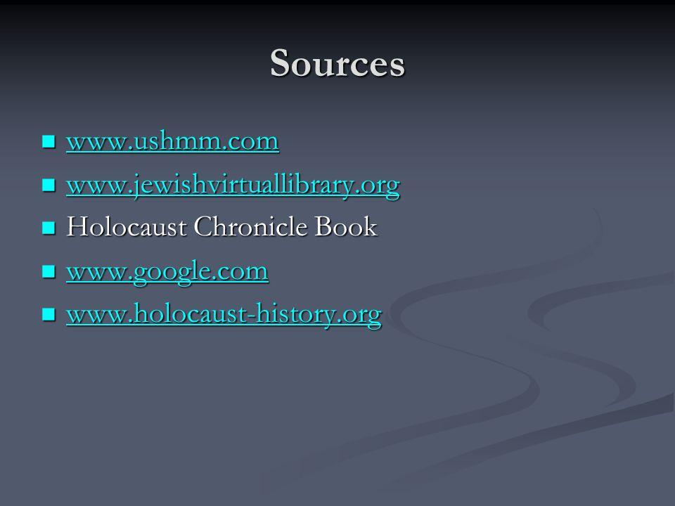 Sources www.ushmm.com www.ushmm.com www.ushmm.com www.jewishvirtuallibrary.org www.jewishvirtuallibrary.org www.jewishvirtuallibrary.org Holocaust Chr