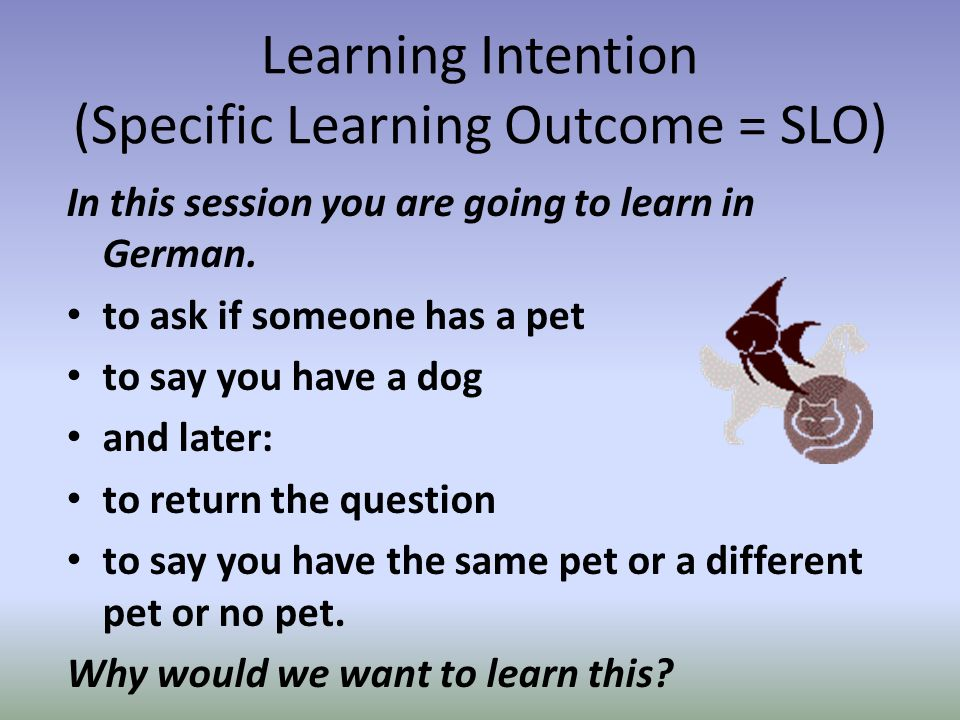Learning Intention (Specific Learning Outcome = SLO) In this session you are going to learn in German.
