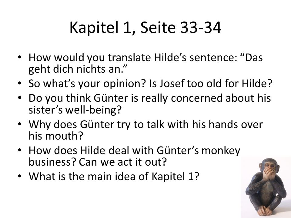 Kapitel 1, Seite 33-34 How would you translate Hildes sentence: Das geht dich nichts an. So whats your opinion? Is Josef too old for Hilde? Do you thi