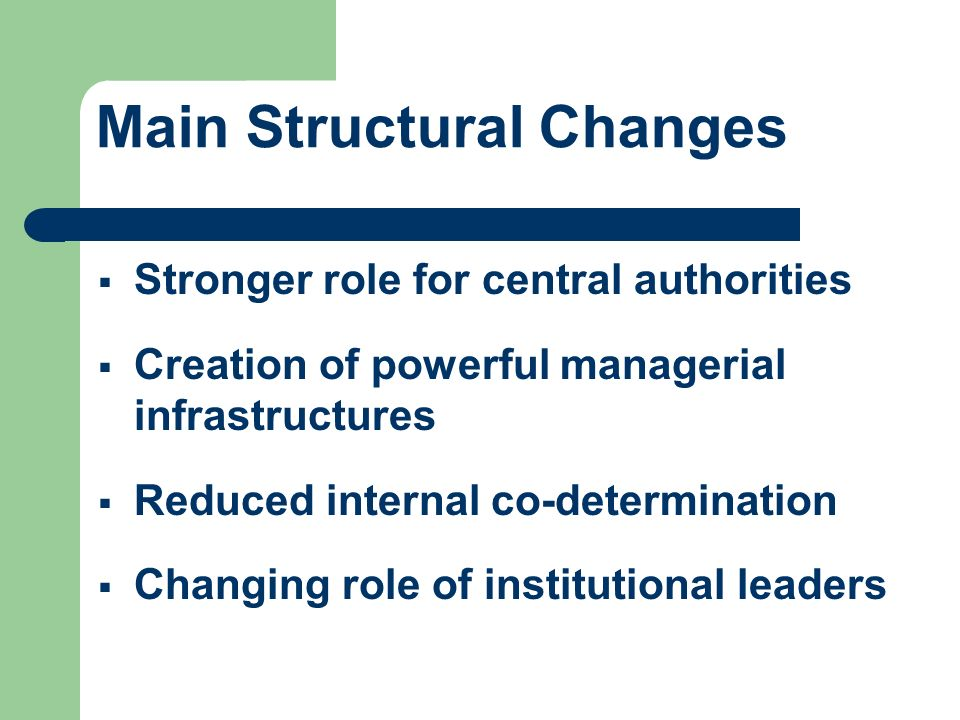 Main Structural Changes Stronger role for central authorities Creation of powerful managerial infrastructures Reduced internal co-determination Changi