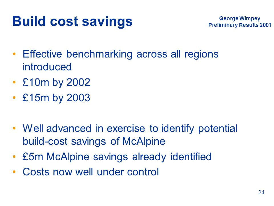 George Wimpey Preliminary Results 2001 24 Build cost savings Effective benchmarking across all regions introduced £10m by 2002 £15m by 2003 Well advan