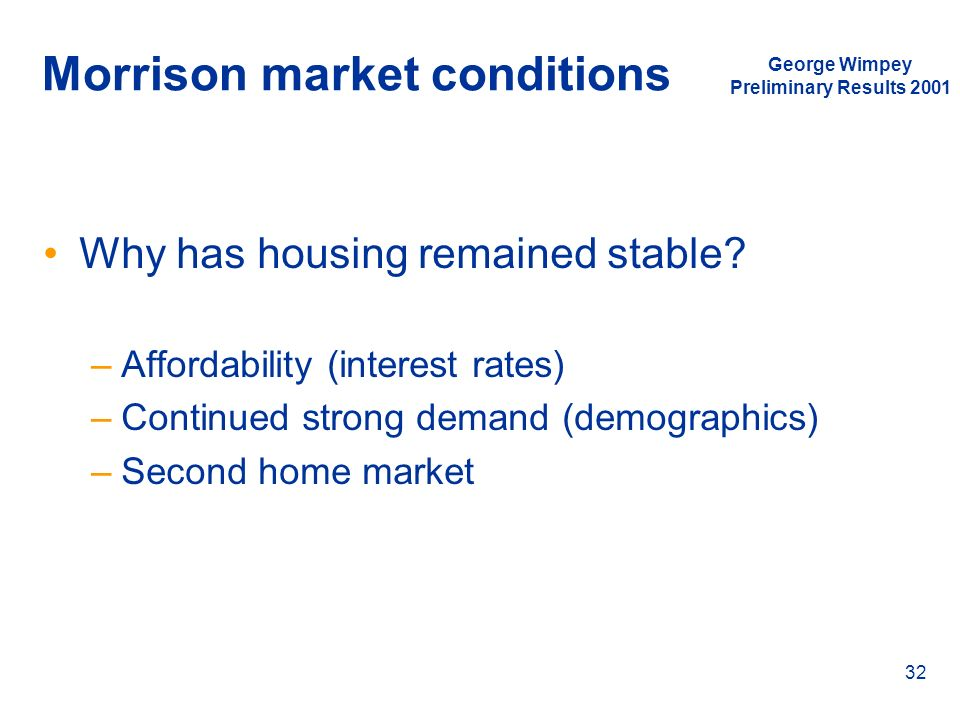 George Wimpey Preliminary Results 2001 32 Morrison market conditions Why has housing remained stable? –Affordability (interest rates) –Continued stron