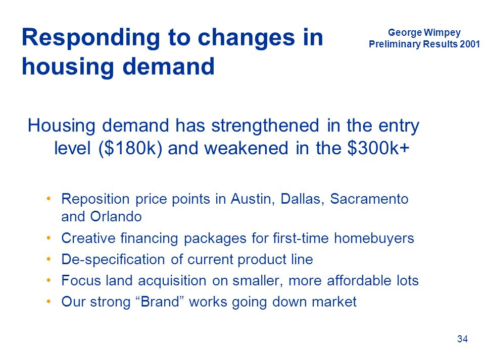 George Wimpey Preliminary Results 2001 34 Responding to changes in housing demand Housing demand has strengthened in the entry level ($180k) and weake