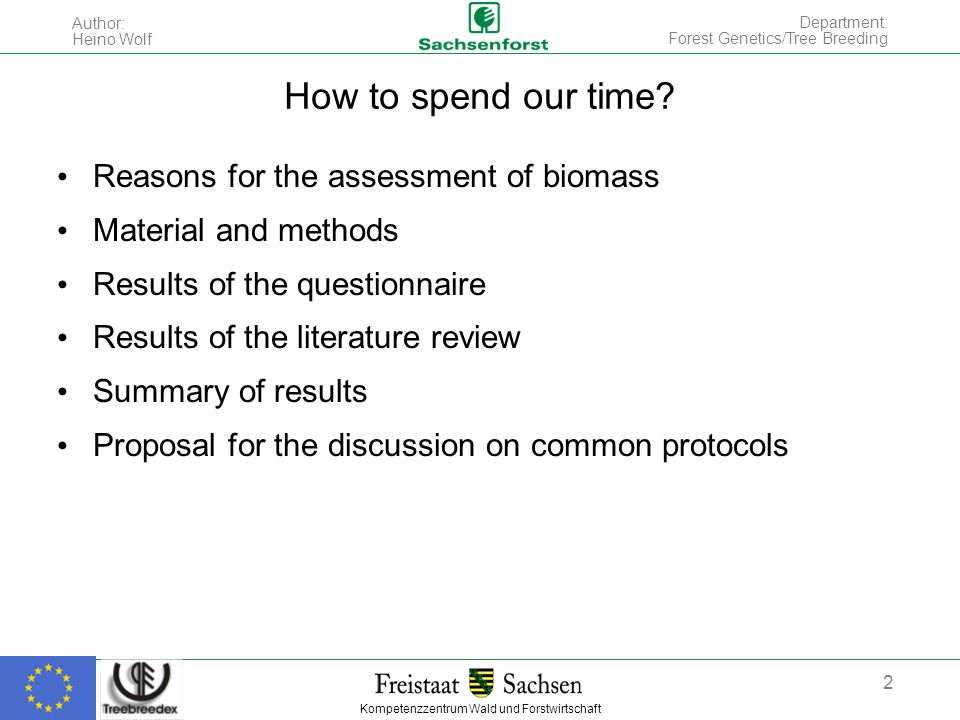 Kompetenzzentrum Wald und Forstwirtschaft Author: Heino Wolf 2 Department: Forest Genetics/Tree Breeding How to spend our time? Reasons for the assess