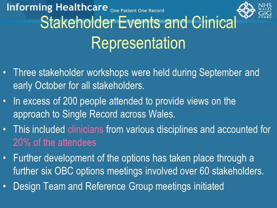 Stakeholder Events and Clinical Representation Three stakeholder workshops were held during September and early October for all stakeholders. In exces