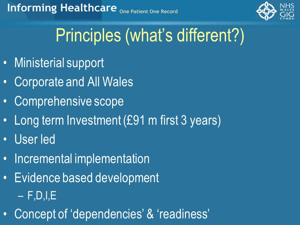 Principles (whats different?) Ministerial support Corporate and All Wales Comprehensive scope Long term Investment (£91 m first 3 years) User led Incr
